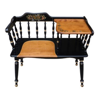 Vintage Ethan Allen Gossip Bench Hitchcock Style Telephone Table Entry Bench For Sale