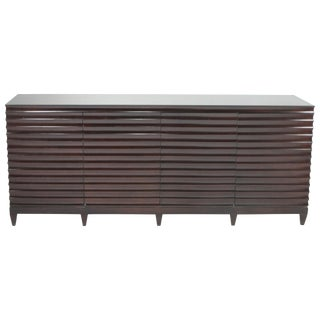 Large Impressive Barbara Barry for Baker Ebonized Low Fluted Cabinet Sideboard For Sale