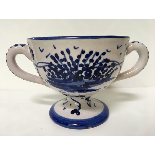 Blue 1950's Italian Blue & White Hand Painted Pottery/Ceramic - 4 Pc. For Sale - Image 8 of 11