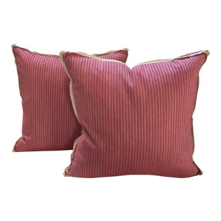 Custom Stripe Pink Pillows - A Pair