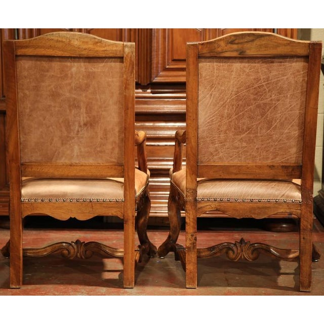 French Leather & Needlepoint Armchairs - a Pair For Sale - Image 10 of 10