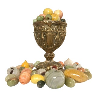 Vintage Centerpiece with Collection of Onyx Alabaster Marble Fruits - 72 Pieces For Sale