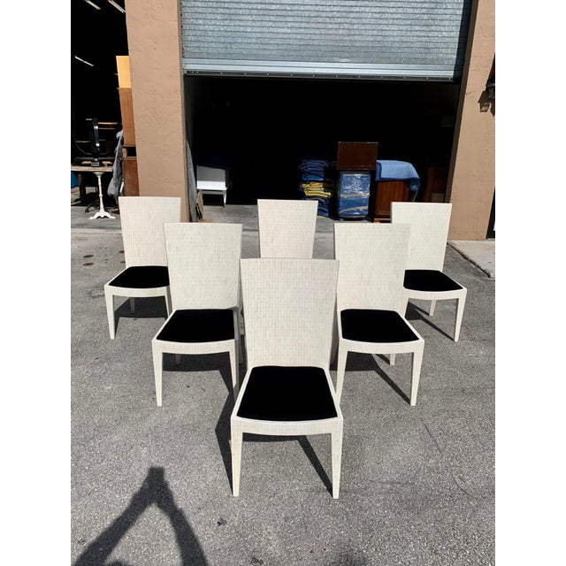 Classic Set of 6 Dining Chairs by Enrique Garcel Tessellated Bone . this set of 6 dining has been finished with a French...