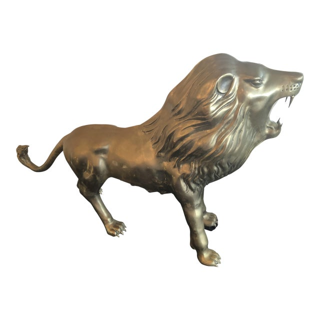 Vintage Brass Lion Statue For Sale