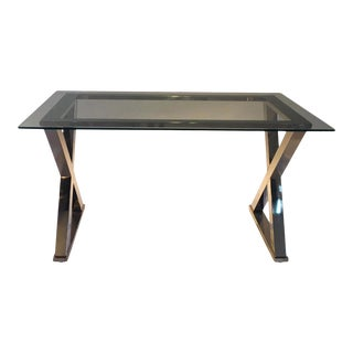 Contemporary Glass Top and Chrome X-Base Rectangular Table For Sale