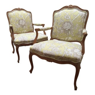 1980s French Provincial Bergere Chairs - a Pair For Sale