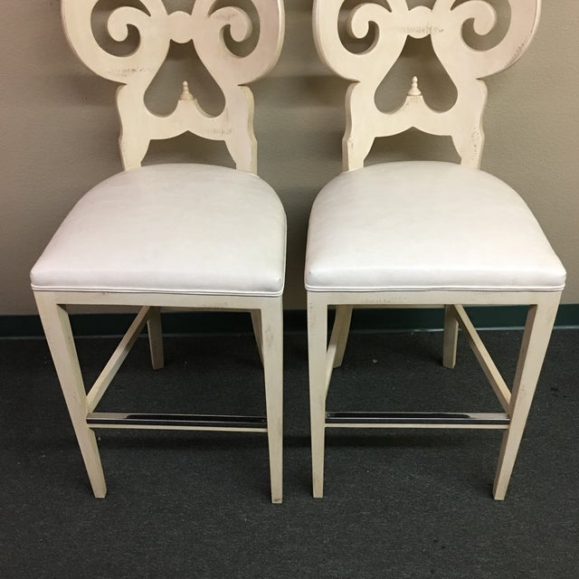 Biedermeier Style Counter Height Distressed White Barstools - A Pair - Image 8 of 11