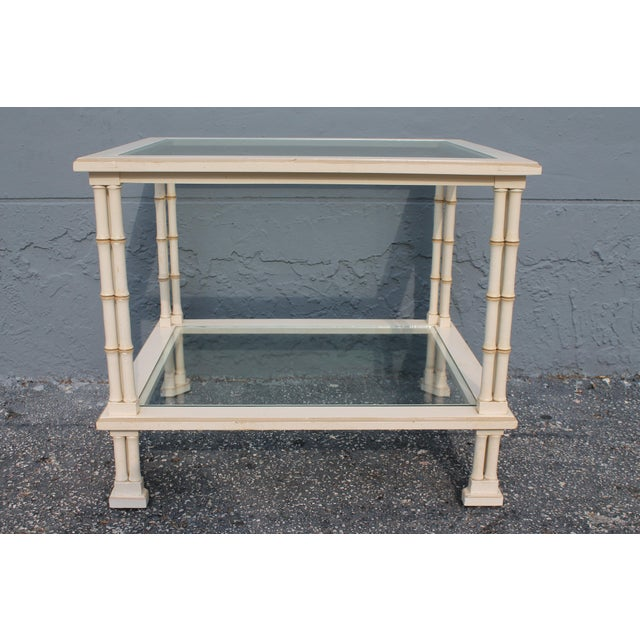 1960s Hollywood Regency Triple Stalk Off White Faux Bamboo Accent/Side Table For Sale In Miami - Image 6 of 9