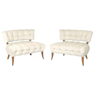 "Wiliam ""Billy"" Haines Large Scale Regency Tufted Klismos Lounge Slipper Chairs - a Pair For Sale"
