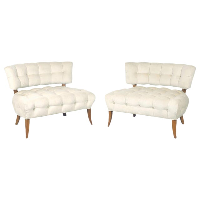 """Wiliam """"Billy"""" Haines Large Scale Regency Tufted Klismos Lounge Slipper Chairs - a Pair For Sale"""