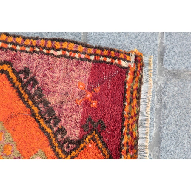 Vintage Turkish Orange Tone Wool Carpet - 3' 8'' X 1' 8'' - Image 8 of 11