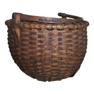 19th Century American Stave Gathering Basket - Signed G. W. Adams For Sale