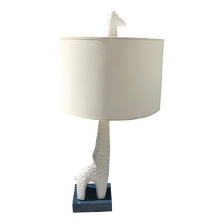Modern Jonathan Adler Giraffe Animal White Ceramic Figural Table Lamp