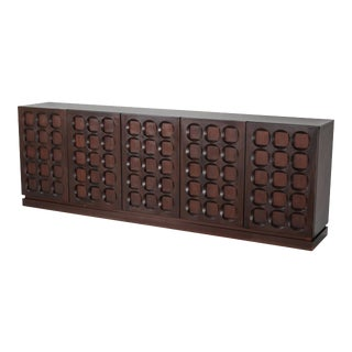 1970s Mahogany Credenza With Geometrical Patterned Doors For Sale