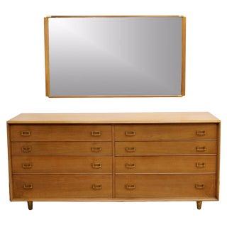 Paul Frankl Mid Century Modern Satin Birch & Brass Credenza Dresser & Mirror For Sale