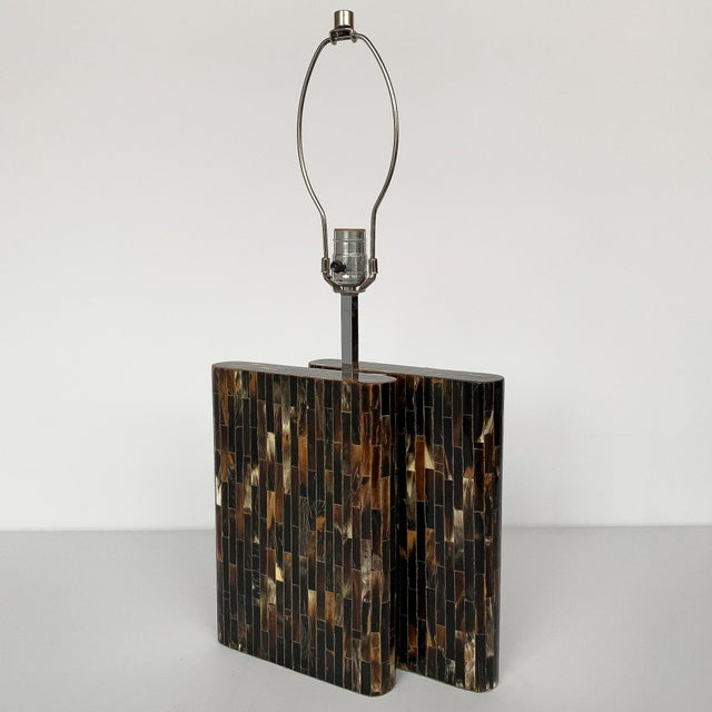 1970s Enrique Garcel Tessellated Horn Table Lamp For Sale - Image 5 of 13