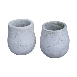 White Sandstone Planters From Indonesia, a Pair