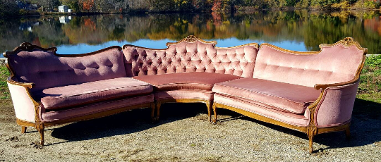 Superieur Vintage French Provincial Pink Velvet Sectional Sofa   Image 4 Of 8