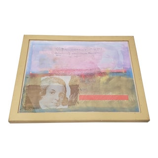 Nissan Engel Mixed Media Abstract Composition With Portraits For Sale