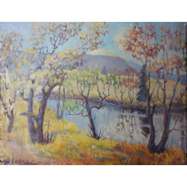 Impressionist Vintage Oil on Canvas Fall Landscape Painting For Sale - Image 3 of 12