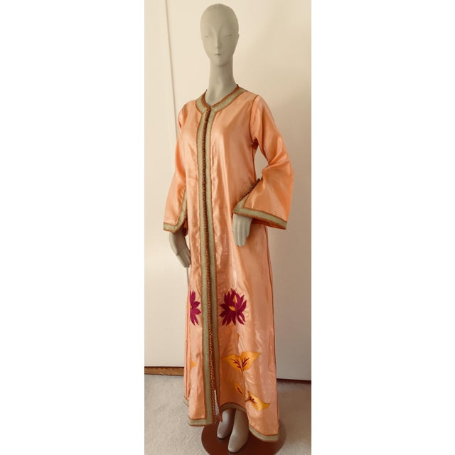 Moroccan caftan, evening or interior adorned with white pearls. Handcrafted vintage exotic 1970s kaftan gown. The luminous...