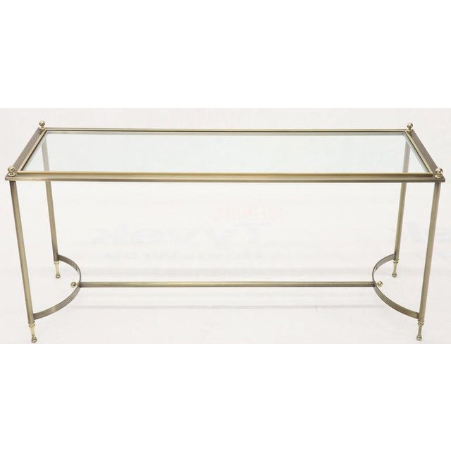 1970s Midcentury Two-Tone Metal Brass and Steel Arch Stretcher Console Sofa Table For Sale - Image 5 of 12
