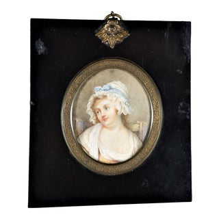 Antique Early American Woman in Period Clothes Miniature Painting, Framed For Sale