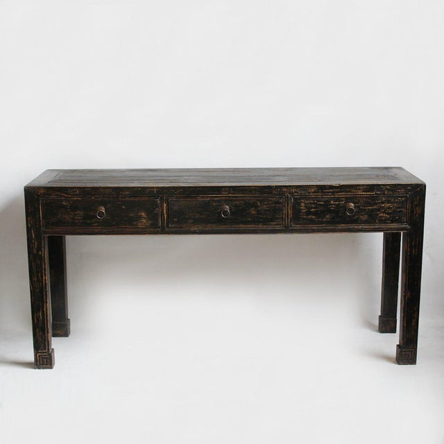 Ming style black elm wood console table chairish for Cie no 85 table 4
