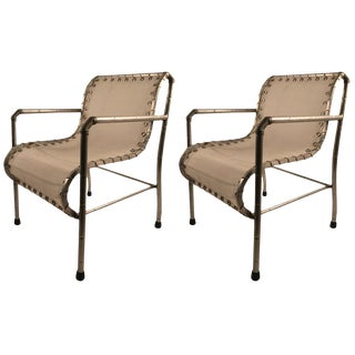 Pair of Aluminum and Canvass Yacht Chairs For Sale
