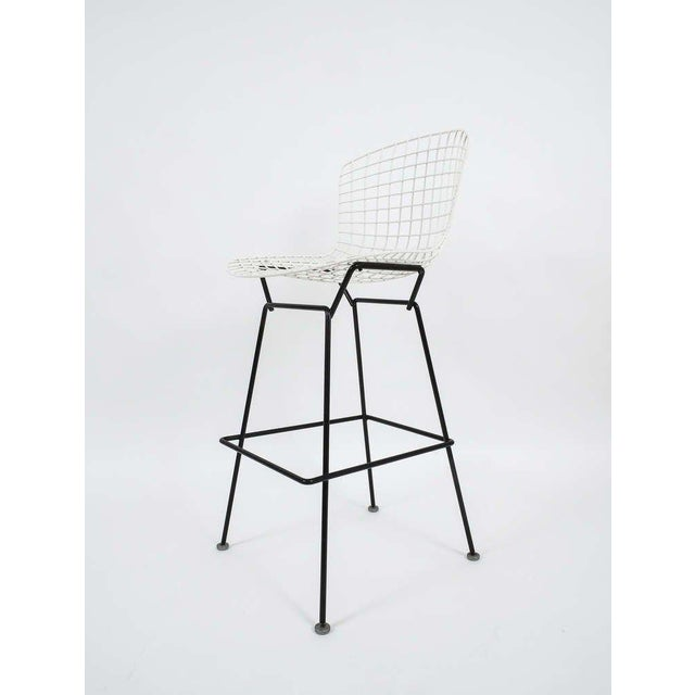 Mid-Century Modern Vintage Harry Bertoia Bar Stools Black and White For Sale - Image 3 of 9