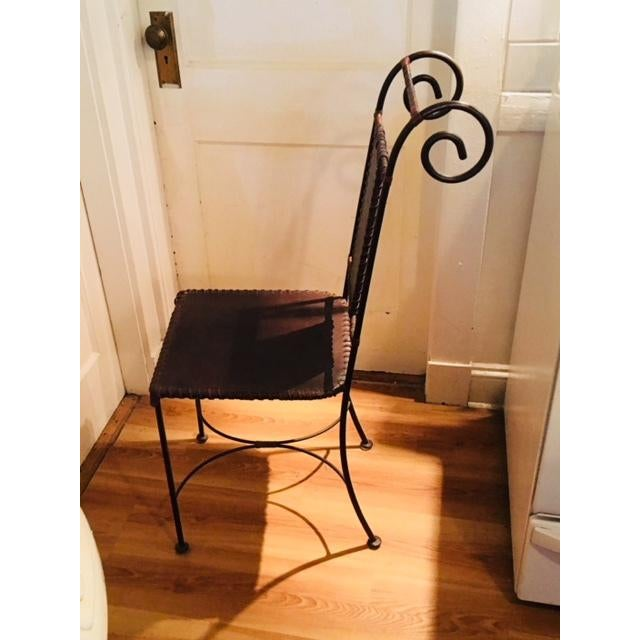 Late 20th Century Antique Wrought Iron and Leather Handmade Spanish Dining Chairs - Set of 4 For Sale - Image 5 of 5