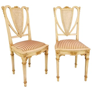 French Antique Painted Side Chairs - a Pair