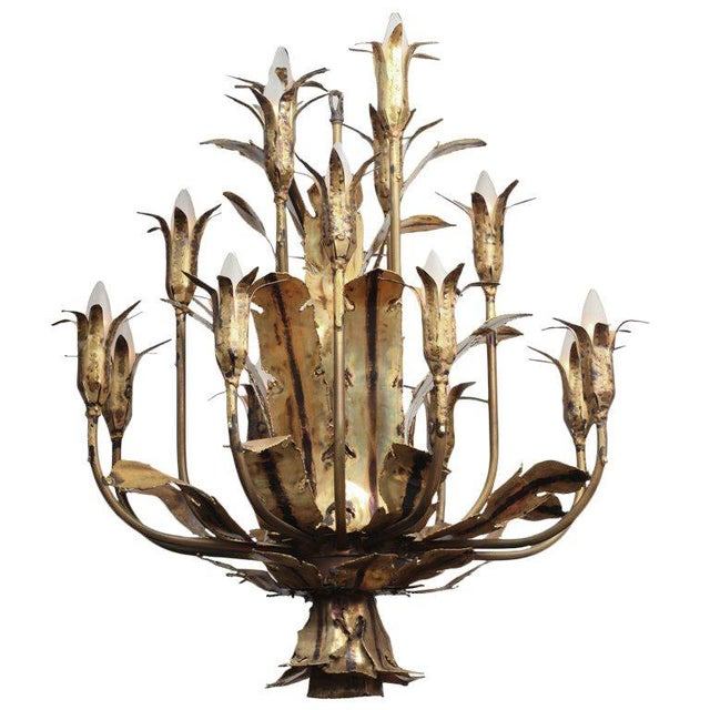1960s Mid Century Brutalist Torched Brass 16 Arm Chandelier by Tom Greene For Sale - Image 11 of 11