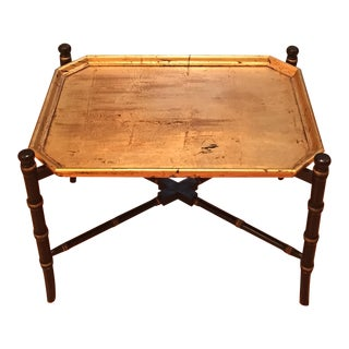 Mid Century Gold Gilt & Black Octagonal Paper Mache Tray With Black & Gold Wooden Faux Bamboo Stand For Sale