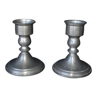 Vintage Pewter Candle Holders - a Pair
