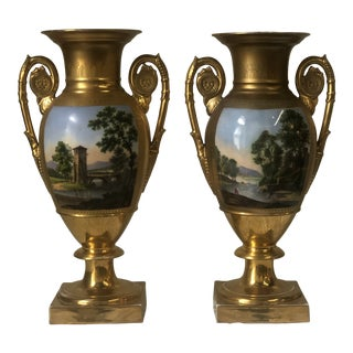 "Paris Urns, 19th Century Measuring 8""w, 6""d, 14.5""h - a Pair For Sale"