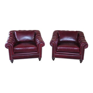 Henredon Red Leather Tufted Chesterfield Chairs - A Pair