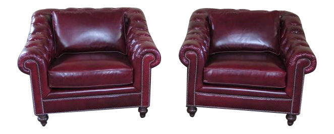 Henredon Red Leather Tufted Chesterfield Chairs   A Pair