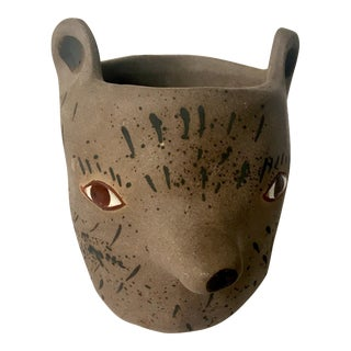 Sarah Burnwash Animal Clay Pot For Sale