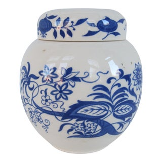 Vintage Staffordshire Blue & White Ginger Jar