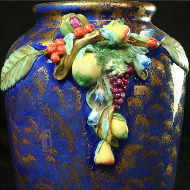 Italian Majolica Blue Ceramic Umbrella Stand Vase - Image 6 of 9