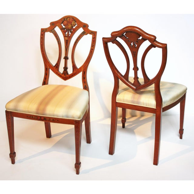 Edwardian Pair of Painted Edwardian Satinwood Shield Back Chairs For Sale - Image 3 of 9