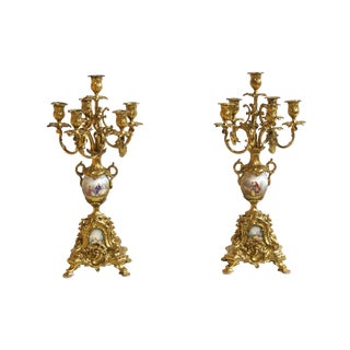 19th Century Rococo Gilt Bronze and Porcelain Candelabras - a Pair For Sale