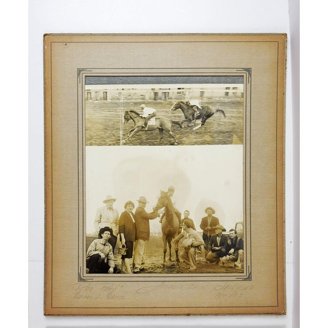Set of 4 photographs on paper of 1958 horse racing winner circle and finish line. Each with pencil notations on mat of...