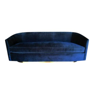 Blue Velvet & Brass Sofa For Sale