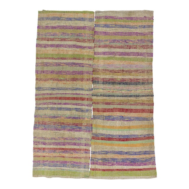 Colorful Striped Turkish Rag Rug - 5′2″ × 7′4″ For Sale