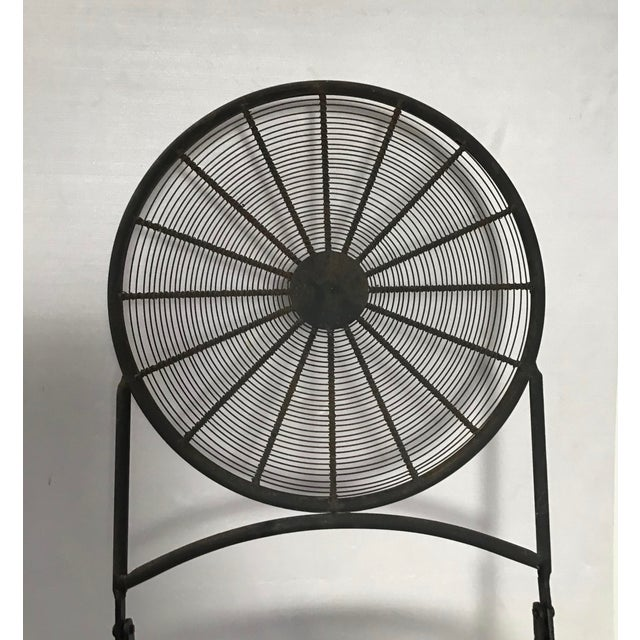 1960s Vintage Wrought Iron Pinwheel Bistro Style Folding Chair- Set of 4 For Sale - Image 11 of 13