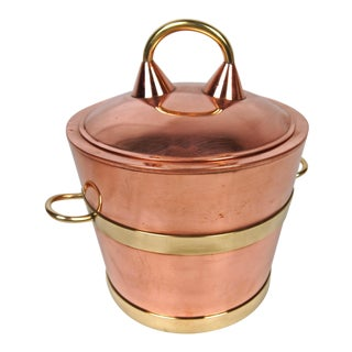 Vintage Copper and Brass Ice Bucket For Sale