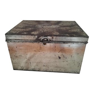 Antique English Silver Bank Box For Sale