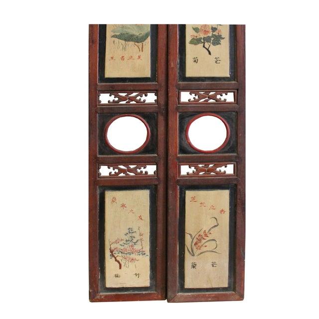 Chinese Vintage Pair Hand Drawing Wood Wall Panels Art   Chairish